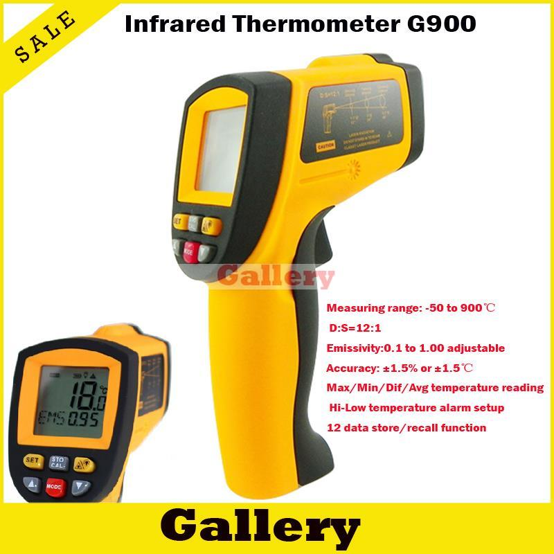Freeshipping Precise Non-contact Digital Ir Infrared Thermometer -50 To 900 Degree Laser Gun Gm900 uf 8780 hand held portable digital double laser infrared mini infrared thermometer 50 780 degree