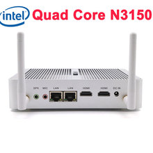 Intel nuc fanless mini pc quad core n3150 1.6 ~ 2.08 ghz hdmi computer palm desktop tv box windows 10 linux mini pc dual lan