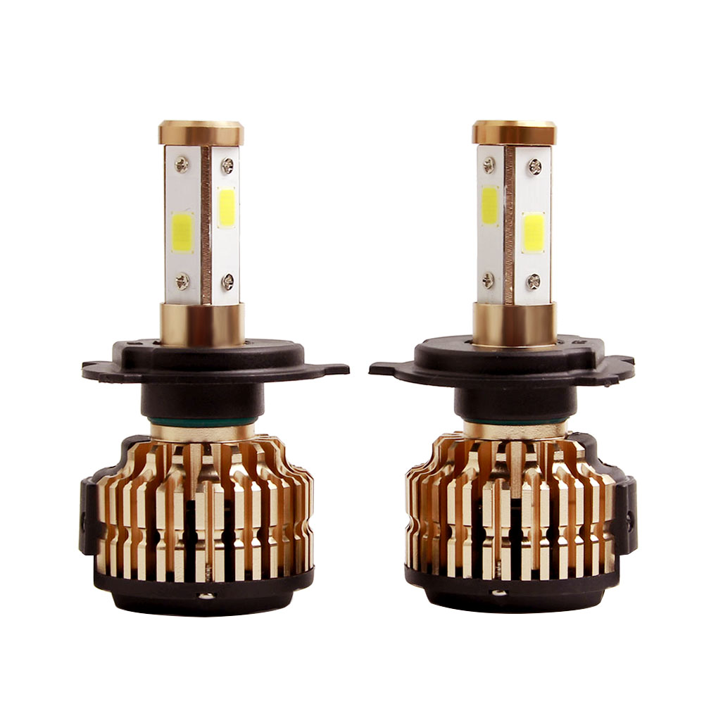 2X H4 LED H7 H11 H8 9006 HB4 COB 4 sides Auto Car Headlight 75W 10000LM High Low Beam Bulb All In One Automobile Lamp 6500K 12V 2pcs led headlight 72w kit 16000lm kit h4 high low beam h7 9005 9006 hb4 cob s2 auto car light all in one automobile lamp 6500k