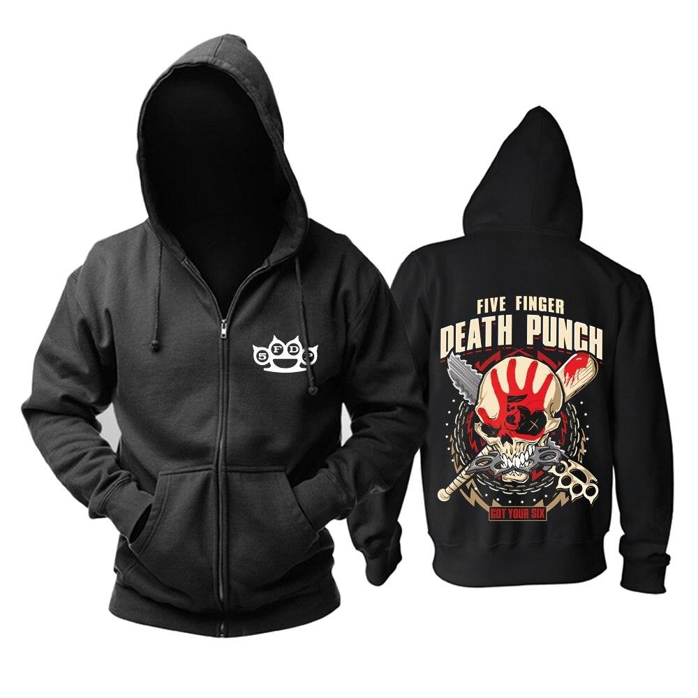 15 designs cinq doigt mort poinçon Rock hoodies zipper sweat veste polaire 5FDP punk hardrock heavy métal crâne sudadera-in Sweats à capuche et sweat-shirts from Vêtements homme    1