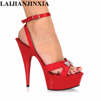 LAIJIANJINXIA Sexy 15cm High-Heels Waterproof Platform Shoes Wedding Party Pole Dancing Shoes Romantic Sandals Dance Lady Shoes