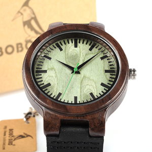 Image 3 - BOBO BIRD WC25 Ebony Wooden Watch Green Second Pointer Wood Face Watches for Men