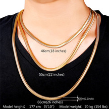 Men Jewelry Chain Necklace Choker/Long Yellow Gold Color Stainless Steel Wholesale Hiphop Mans 6mm Snake Chain N336