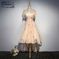 Champagne high low bridesmaid dresses short 2017 Sexy knee length boat neck wedding party dress robe demoiselle d'honneur