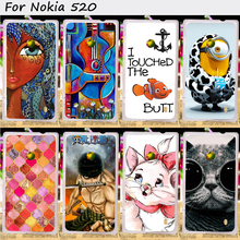 22 Styles Mobile Phone Bags and Cases For Nokia Lumia 520 N520 525 526 Cases Anti-Knock Hard Plastic Shield Smartphone Shell