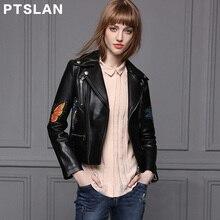 Ptslan Ladies Real Leather Jacket Genuine Natural Sheepskin Motorbike Basic Female Jackets Good Quality