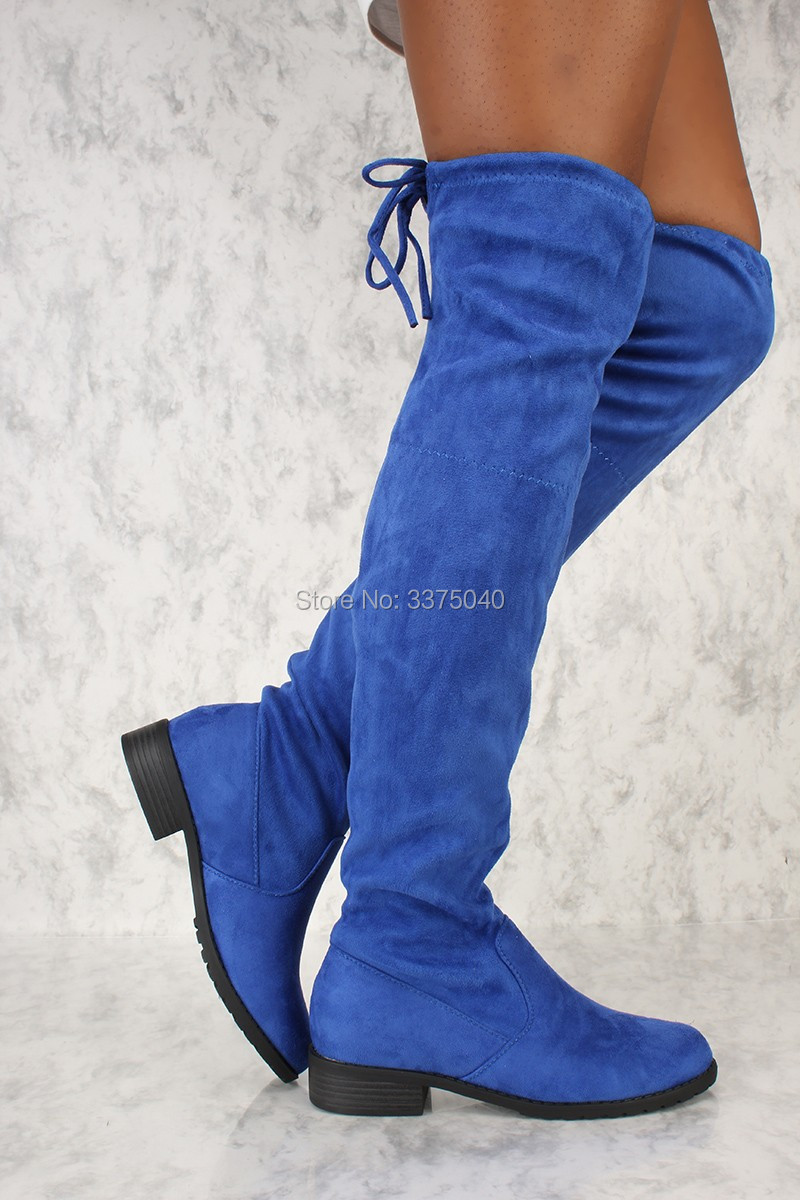 Women Blue Suede Over The Knee High Boots Chunky Low Heel Lace Up Thigh High Boots Shoes lace up plunge neckline high low sweater