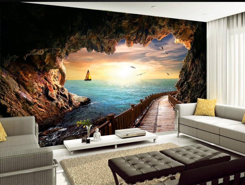 Custom 3d Mural Wallpapers Hd Landscape Mountains Lake: Custom 3d Wallpaper Cave Sea View Beautiful Sunset