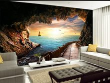 Kustom 3d wallpaper Gua laut sunset landscape view indah foto dinding mural 3d wallpaper 3d wallpaper(China)