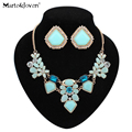 [Marte&Joven] New Fashion Statement Fine Jewelry Sets Colorful Flower Design Sweet Crystal Necklace Set For Women Wedding Set