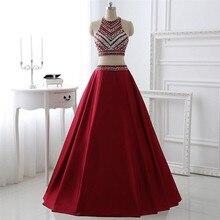 Zwei Stück Burgund Prom Dresses Online für Verkauf Kristall Perlen Homecoming Kleider Crop Top Robe De Soiree