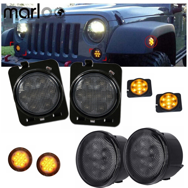 Marloo Smoke Amber / Yellow LED Front Grille Turn Signal Light & Fender Side Marker Light Assembly For Jeep Wrangler JK JKU