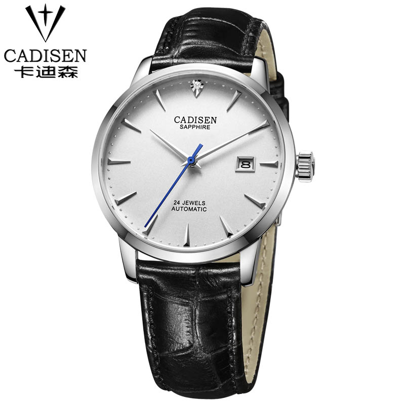 CADISEN Brand men Automatic Mechanical Watches Sapphire Leather Strap Black Brown Business Dress Watch Brand watches 2017 issue automatic watch men parnis 44mm power reserved steel black gold case brown leahter sapphire mechanical men s watches
