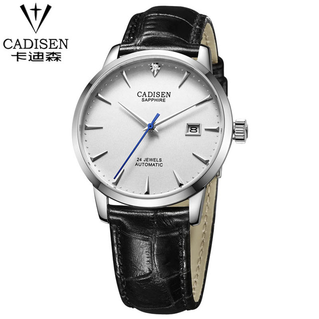 3880ce26750d CADISEN Brand men Automatic Mechanical Watches Sapphire Leather Strap Black  Brown Business Dress Watch Brand watches
