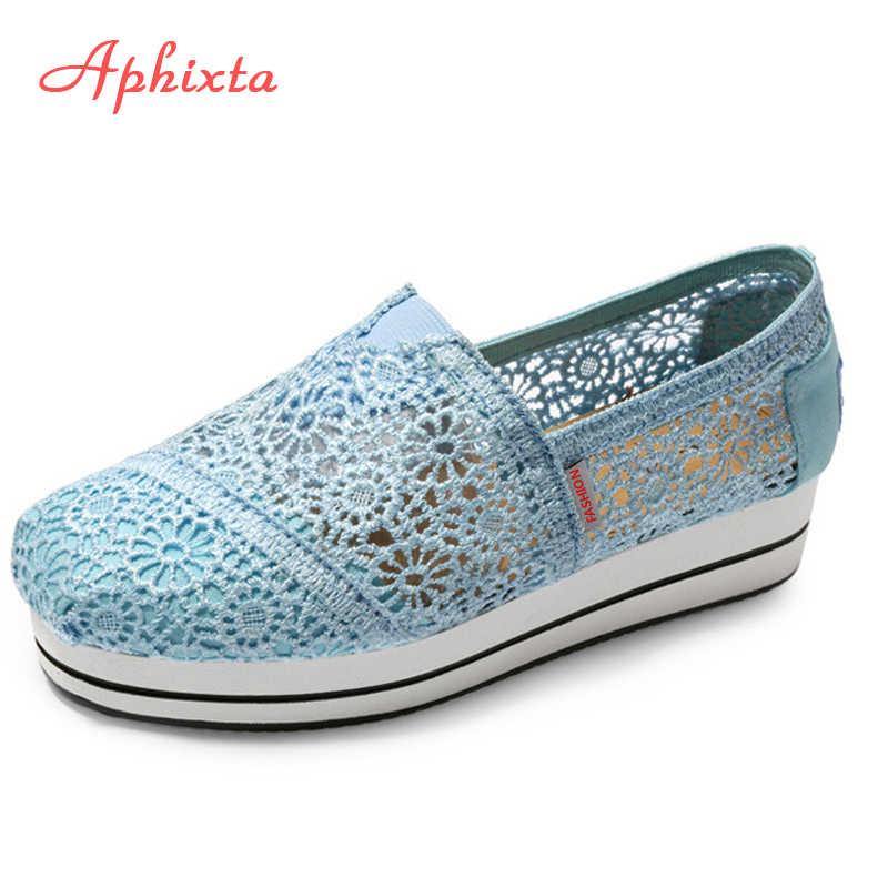 Aphixta/Летняя обувь на шнуровке; женская обувь из натуральной кожи с сетчатым верхом; обувь на плоской подошве; Синяя Женская обувь из натуральной кожи на полой подошве