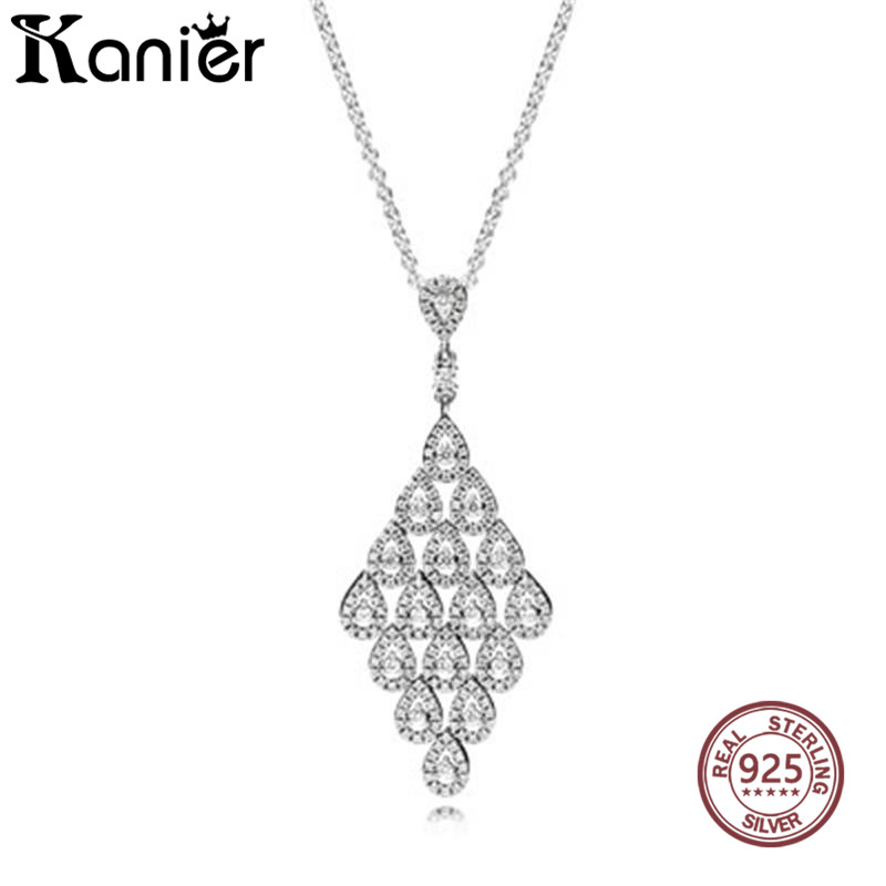 KANIER Fashion Cascading Glamour Necklace pendant Women Has Logo Geniune 100% Pure Silver Sweater Link chain Wholesale Free Mail