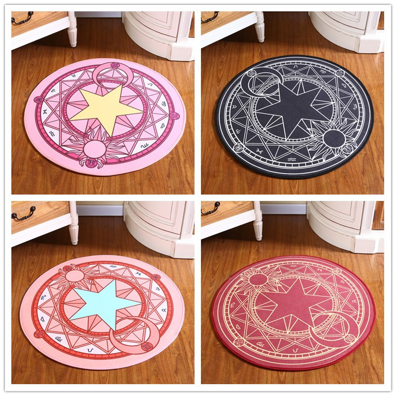 Infant Shining Kids Bedroom Carpet Cartoon Sakura Magic Children Round Play Carpet Computer Chair Hanging Basket Puzzle Mats