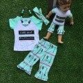 2016 лето наряд девушки милые одежды короткими рукавами дети одежды стрелка капри девушки комплект маленькая девочка большая мечта с аксессуарами
