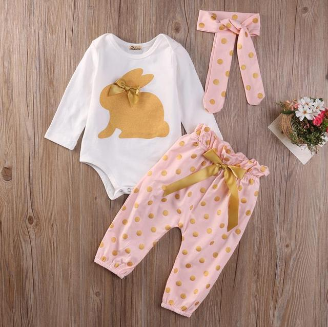 6d15a2532d126 Cute Baby Girls Clothing Sets Tops Playsuit Pants Headband Outfit Set 3Pcs  Newborn Infant Baby Girls Clothes Set