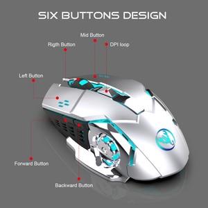 Image 5 - HXSJ 2.4 גרם משחקי עכבר 2400 dpi נטענת אפור 7 צבע תאורה אחורית יכול להיות כבוי מחשב עכבר אלחוטי מחשב נייד USB