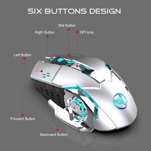 Image 5 - HXSJ 2,4g gaming maus 2400 dpi wiederaufladbare grau 7 farbe hintergrundbeleuchtung kann ausgeschaltet PC maus für drahtlose laptop USB