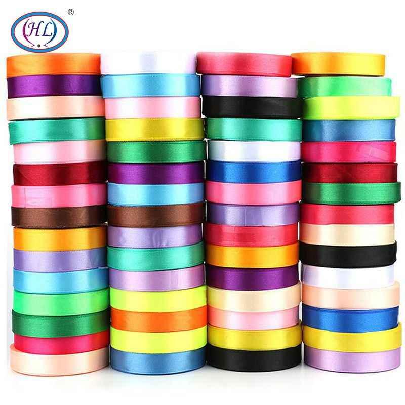 HL 6/10/15/20/25/40/50mm 25 Yards saten kurdele DIY yapay ipek güller malzemeleri el sanatları dikiş aksesuarları malzeme