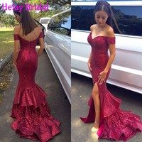 Simple Evening Dress Red 2016 Silt Side Sexy Sparkly Sequin Formal Dress Long Party Dress For