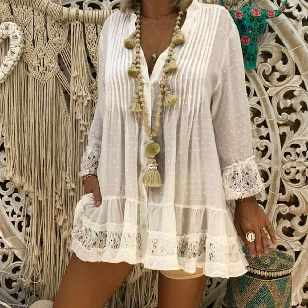 Women's blouse Boho Beach Cover tops women Plus Size Ladies Vintage Hippie Baggy female's loose shirt summer fashion CD