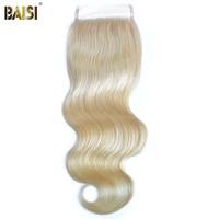Байси бразильских волос 613 # Цвет блондинка швейцарской Синтетическое закрытие шнурка волос Remy Средства ухода за кожей волна, свободный раз