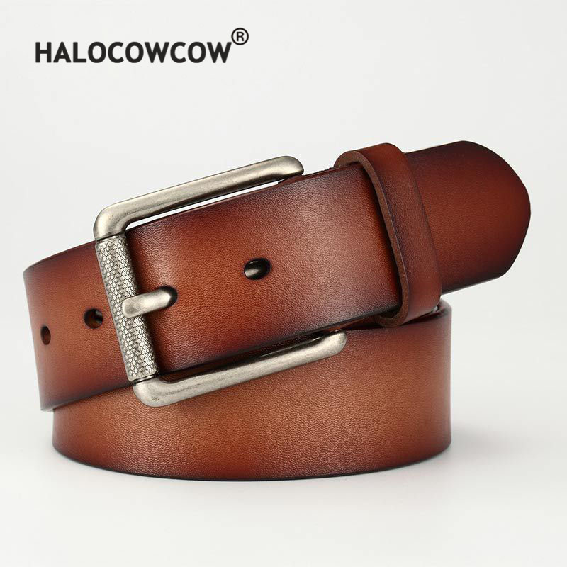 New Genuine Leather   Belt   for Men High Quality Pin Buckle Jeans   Belt   Vintage Cowskin Casual   Belts   Business   Belt   Cowboy Waistband