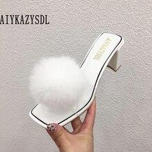AIYKAZYSDL/женские туфли на высоком толстом каблуке из натуральной кожи с натуральным кроличьим мехом; шлепанцы без задника с открытым носком; прозрачные сандалии