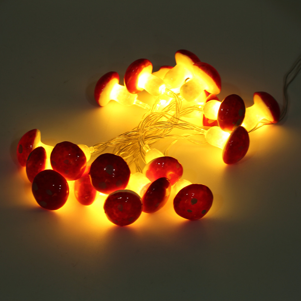 Romantic 2M 20LED Mushroom String Light Lamp With Battery Box Garden Party Decor gift Outdoor Lighting Led Night Light
