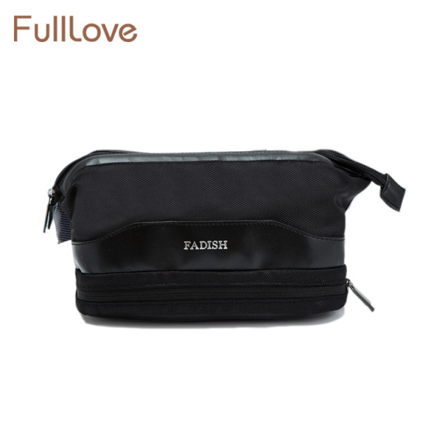 1924d1ff7f73 FullLove Men s Travel Toiletry Bag Solid Black Ziplock Bag Double Layer  Wash Cosmetics Organizer Home Storage