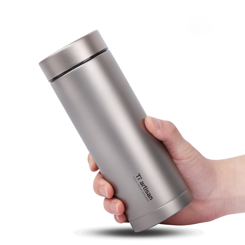 Tiartisan Titanium Bottle 400ml Titanium insulated Thermos with Tea Filter Double Wall Camping Drinking Direct Drinking