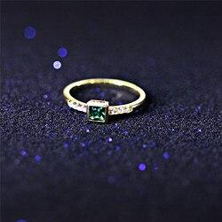 ROMAD Kare Taş Yüzükler Kadınlar için Altın Parmak Yüzük Moda Nişan Yüzüğü Yeşil Kristal Boho Takı ringen R4