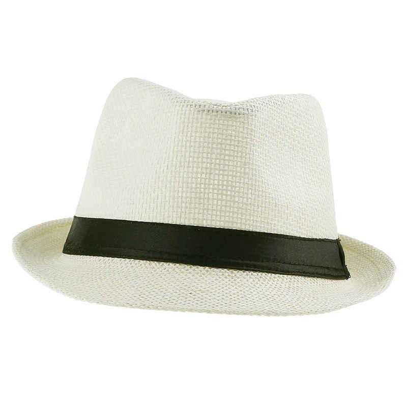 ... LNPBD Hot Unisex Women Men Fashion Summer Casual Trendy Beach Sun Straw  Panama Jazz Hat Cowboy ... 4d2009361ab2