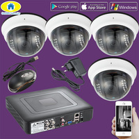 Golden Security 4CH CCTV DVR 2000TVL 720P Surveillance AHD Camera 22 Light IR CUT Night Vision