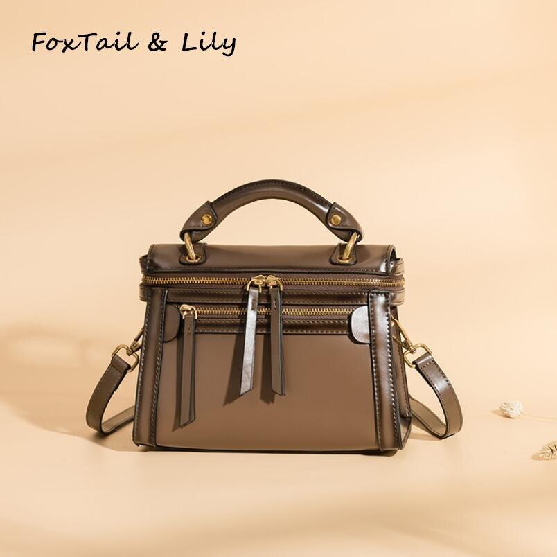 FoxTail   Lily Ladies Vintage Shoulder Bag Woman Genuine Leather Casual  Tote Messenger Bags Luxury Brand Designer Small Handbags cf1c6ec72840c