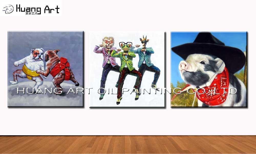 Bezrámová, vysoce kvalitní ručně malovaná legrační zvířata Vepřový olejomalba na plátně Vepřový olejomalba pro psí obrazy v obývacím pokoji
