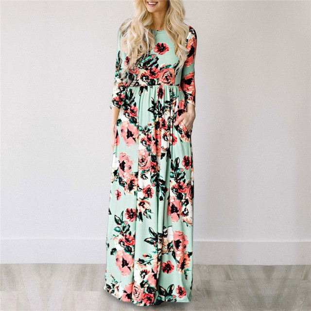ELSVIOS Women Bohemia Floral Print Summer Dress Casual Short Sleeve O Neck Beach Boho Long Dress Loose Maxi Dresses Vestido