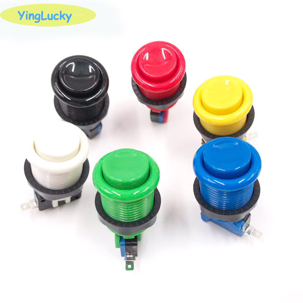 Yinglucky American Style Push Arcade Buttons With Microswitches 28mm Mounting Hole Long Arcade Button For Games Parts