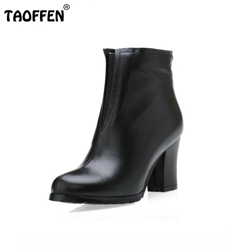 Free shipping half ankle short natrual real genuine leather high heel boots women snow warm shoes CooLcept R1598 EUR size 34-39