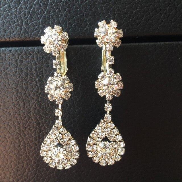 Fashion Rhinestone Clip Earring On Earrings Bridal Non Pierced For Women Lady Party
