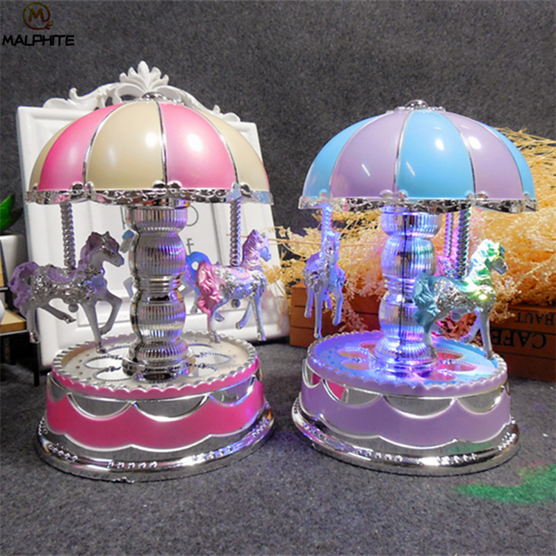 Carousel Music Box Night Lights Creative Night Lamp Princess Room Bedside Lamp Children's Day Gift Luminaires