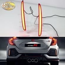 For Honda Civic Hatchback TYPE R Prototype 2016 2017 2018 LED Reflector Lamp Rear Fog Lamp Bumper Light Brake Light цена