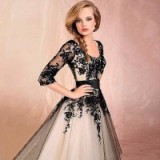 conew_conew_modest sleeves black ivory lace appliques tea length tulle ball gown a-line wedding dresses 2015 new arrival free shipping_conew2