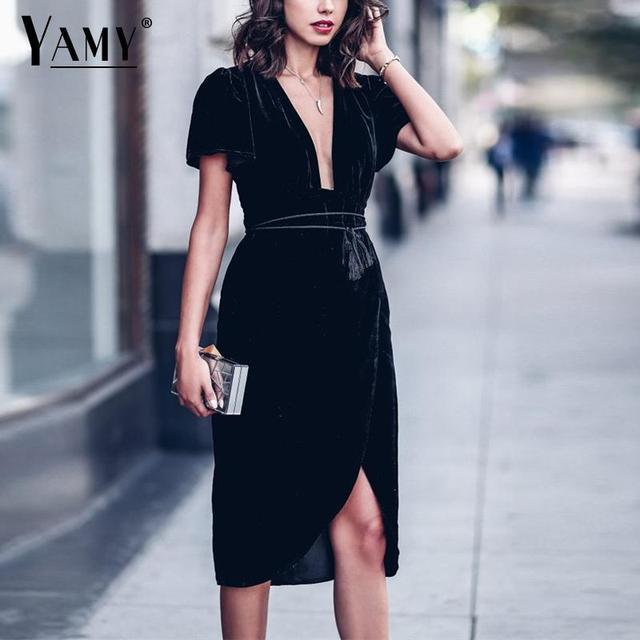 reputable site c4660 28424 Inverno Velluto nero Wrap dress donne midi vintage manica corta bow tie  vestito da partito coreano lavoro d'ufficio Abiti