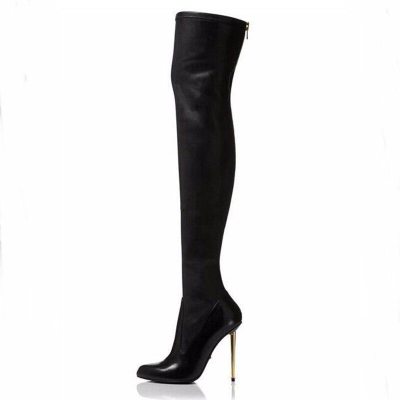 2018 New Autumn Winter Women Boots Stretch Slim Thigh High Boots Fashion Gold Metal Heels Zip Decor High Heels Gladiator Shoes