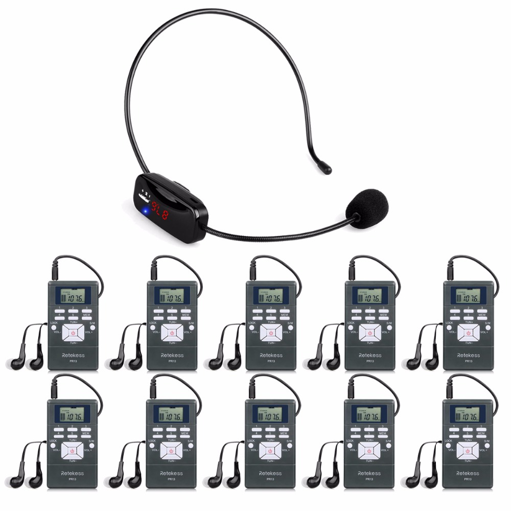 Sistema di Guida senza fili Sistema di Trasmissione di Voce Portatile Set Per La Chiesa Riunione 1 MIC Trasmettitore + 10 FM Ricevitore Y4305