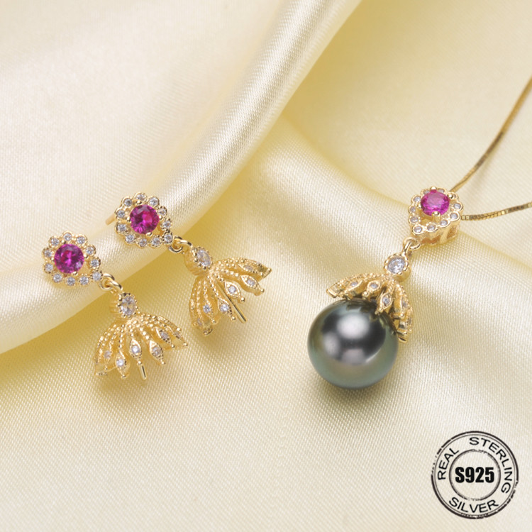 Pearl Jewelry Set Accessories Making DIY Handmade Silver Hollow Micro Pave Zircon Stud Earrings Necklace Pendant For Women